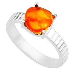 4.38cts natural orange mexican fire opal 925 silver solitaire ring size 8 r71741