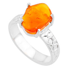 4.81cts natural orange mexican fire opal 925 silver solitaire ring size 8 r71745