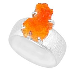 5.67cts natural orange mexican fire opal 925 silver solitaire ring size 8 r91585