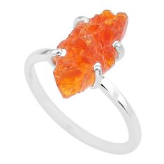 5.25cts natural orange mexican fire opal 925 silver solitaire ring size 8 r91587
