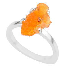 5.58cts natural orange mexican fire opal 925 silver solitaire ring size 8 r91590