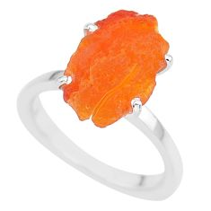 7.97cts natural orange mexican fire opal 925 silver solitaire ring size 8 r91596