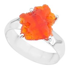 6.50cts natural orange mexican fire opal 925 silver solitaire ring size 8 r91602