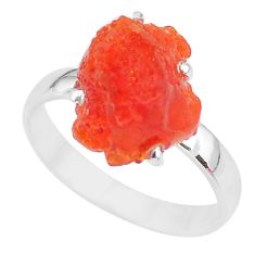 5.47cts natural orange mexican fire opal 925 silver solitaire ring size 8 r91608