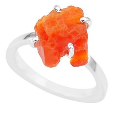 7.18cts natural orange mexican fire opal 925 silver solitaire ring size 8 r91636