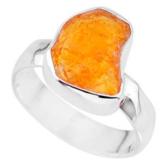 5.54cts natural orange mexican fire opal 925 silver solitaire ring size 8 r91642
