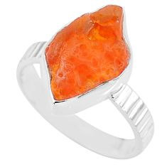 6.14cts natural orange mexican fire opal 925 silver solitaire ring size 8 r91647