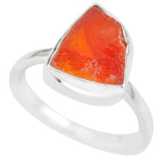 5.54cts natural orange mexican fire opal 925 silver solitaire ring size 8 r91661