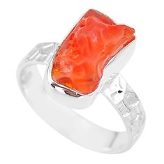 5.32cts natural orange mexican fire opal 925 silver solitaire ring size 8 r91670