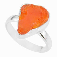 5.79cts natural orange mexican fire opal 925 silver solitaire ring size 8 r91674