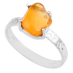 3.16cts natural orange mexican fire opal 925 silver solitaire ring size 9 r71740
