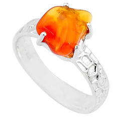 4.82cts natural orange mexican fire opal 925 silver solitaire ring size 9 r71748