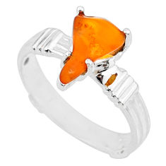 4.42cts natural orange mexican fire opal 925 silver solitaire ring size 9 r71753