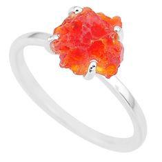 4.49cts natural orange mexican fire opal 925 silver solitaire ring size 9 r91594