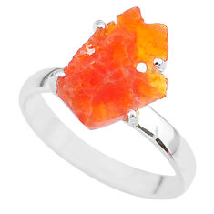5.47cts natural orange mexican fire opal 925 silver solitaire ring size 9 r91597