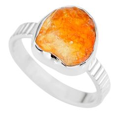 6.51cts natural orange mexican fire opal 925 silver solitaire ring size 9 r91625
