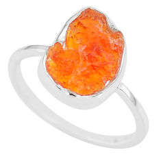 5.56cts natural orange mexican fire opal 925 silver solitaire ring size 9 r91656
