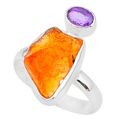 7.25cts natural orange mexican fire opal amethyst 925 silver ring size 8 t10024