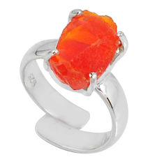 5.07cts natural orange mexican fire opal fancy 925 silver ring size 4.5 r60179