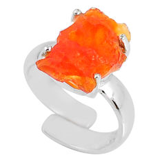 5.35cts natural orange mexican fire opal silver adjustable ring size 4.5 r60128
