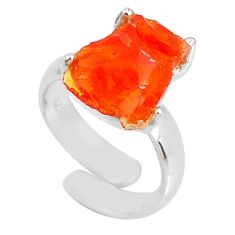 5.45cts natural orange mexican fire opal silver adjustable ring size 4.5 r60133