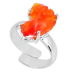 5.06cts natural orange mexican fire opal silver adjustable ring size 5 r60124