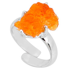 5.92cts natural orange mexican fire opal silver adjustable ring size 7 r60131