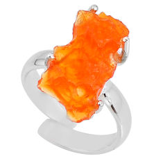 7.91cts natural orange mexican fire opal silver adjustable ring size 7 r60135