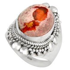 6.54cts natural orange mexican fire opal silver solitaire ring size 7.5 d46341