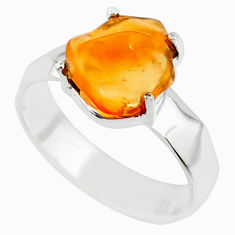 4.67cts natural orange mexican fire opal silver solitaire ring size 8.5 r71742
