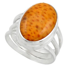 7.83cts natural orange spider web agate silver solitaire ring size 6.5 d46554