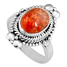 4.40cts natural orange sunstone oval 925 silver solitaire ring size 7 r19666