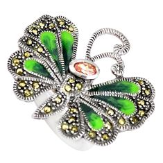 1.40cts natural orange topaz marcasite 925 silver butterfly ring size 5.5 c21394