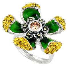 Natural orange topaz marcasite enamel 925 silver flower ring size 5.5 c15990