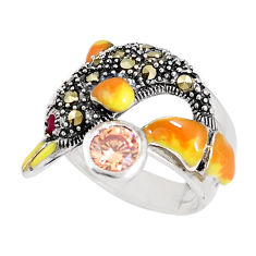 1.69cts natural orange topaz marcasite 925 silver dolphin ring size 7 c15923