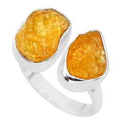 9.96cts natural orange tourmaline raw 925 silver adjustable ring size 7 t35107