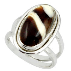 7.50cts natural peanut petrified wood fossil 925 silver ring size 6.5 r42183