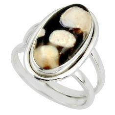 6.97cts natural peanut petrified wood fossil 925 silver ring size 7.5 r42184
