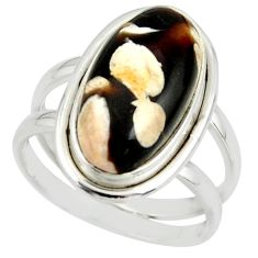 6.90cts natural peanut petrified wood fossil 925 silver ring size 7.5 r42188