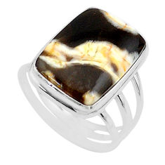 15.69cts natural peanut petrified wood fossil 925 silver ring size 11 t17813