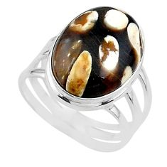13.34cts natural peanut petrified wood fossil 925 silver ring size 9 t17803