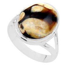 12.07cts natural peanut petrified wood fossil 925 silver ring size 9.5 t17812