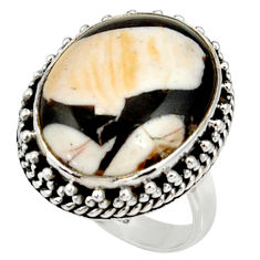 Natural peanut petrified wood fossil 925 silver solitaire ring size 6.5 r28173