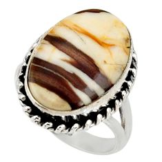 Natural peanut petrified wood fossil 925 silver solitaire ring size 7.5 r28175