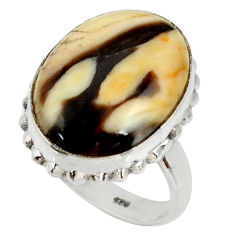 Natural peanut petrified wood fossil 925 silver solitaire ring size 7.5 r28179