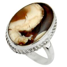 Natural peanut petrified wood fossil 925 silver solitaire ring size 8.5 r28686