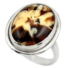 Natural peanut petrified wood fossil 925 silver solitaire ring size 9.5 r28692