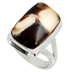 Natural peanut petrified wood fossil 925 silver solitaire ring size 5 r28168