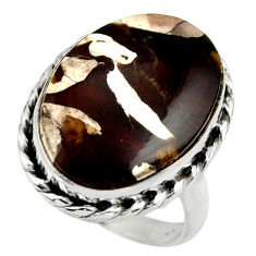 Natural peanut petrified wood fossil 925 silver solitaire ring size 7 r28697