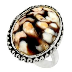 Natural peanut petrified wood fossil 925 silver solitaire ring size 8 r28666